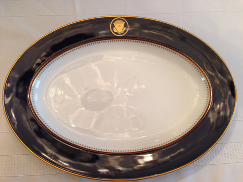 Oval Platter from Ronald Reagan Presidential Dinner Service,  designed by Robert C. Floyd, Fritz and Floyd, Dallas, ca. 1983