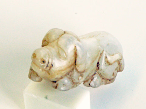 Chinese Nephrite Jade Carving of a Pig, 20th century, in Qing Dynasty style