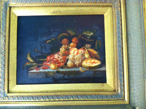 Continental School (19th Century), Still Life with Fruit, oil on panel, signed indistinctly