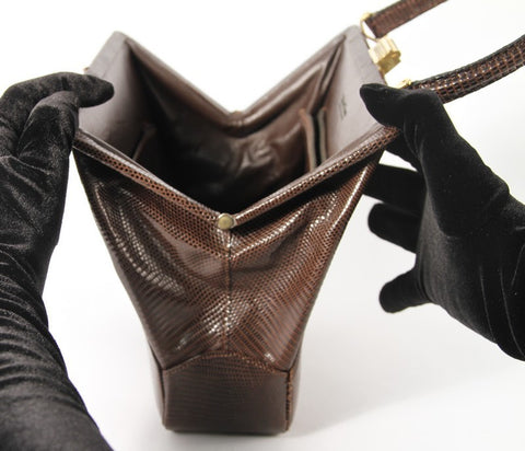 French Brown Teiju Lizard Purse, by Tailored Woman, 20th century