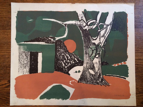 "Keith Vaughan (British, 1912-1977), ""Winter Landscape"", lithograph in colors, signed and dated 1949"