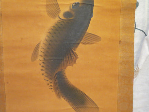 Japanese Hanging Scroll Painting of Koi (Carp), early 20th century, signed Terasono