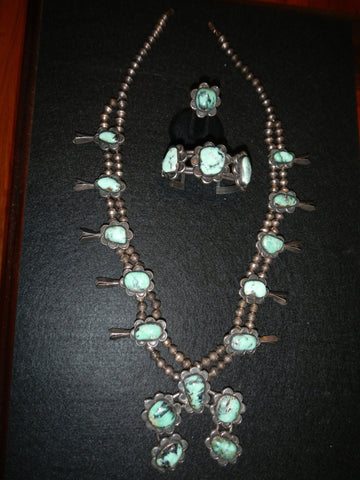 Squash Blossom Necklace with Bracelet and Ring, late 20th century
