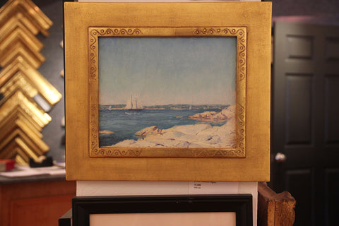 George William Sotter (American, 1879-1953), Outer Harbor, Gloucester, oil on board, signed, 20th century