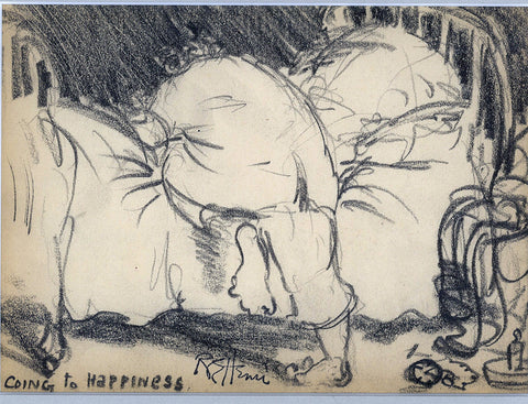 "Robert (Henry Cozad) Henri, (American, 1865-1929), ""Going to Happiness"", pencil on paper, signed"