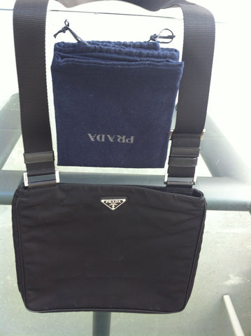 Prada Black Nylon IPad Messenger Bag