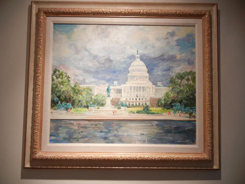 "Kamil Kubik (Czechoslovakian/American, 1930-2011), ""The Capitol"", oil on canvas, signed, 20th century"