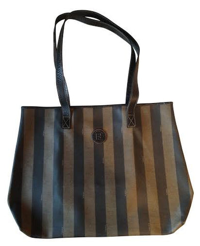 Fendi Striped Logo Canvas Large Tote