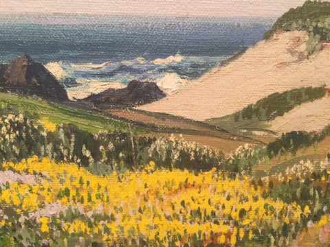 "Carl Sammons (American, 1883-1968), ""Wildflowers, 17 Mile Drive, Carmel by the Sea"", oil on canvas, signed"