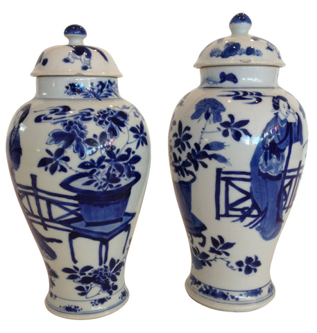 Pair of Chinese Blue and White Porcelain Covered Jars
