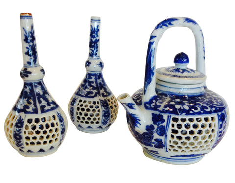 Chinese Blue and White Reticulated Teapot and Vases