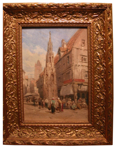 Louis Tesson (French, 1820-1879), Market Square, watercolor on paper, mid-19th century, signed