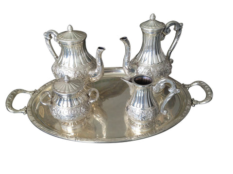 Italian Silver Tea and Coffee Service with Tray