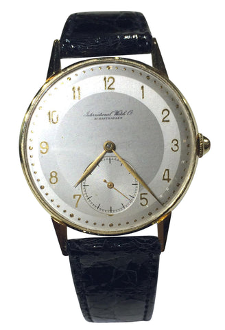 Men's German 18K Gold Wristwatch with Black Leather Band