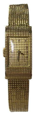 Ladies 18K Gold Dress Watch with Integrated Mesh Band