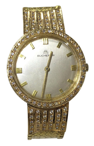 Ladies Swiss Yellow Gold and Diamond Wristwatch and Bracelet