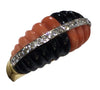 14K Yellow Gold, Onyx, Coral and Diamond Ring