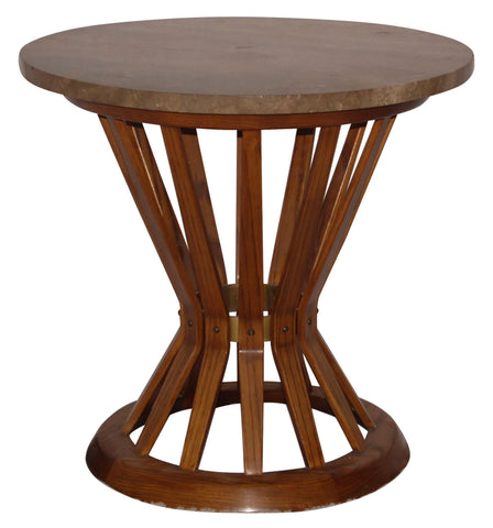 "American Ash, Brass & Travertine ""Sheaf of Wheat"" Side Table"