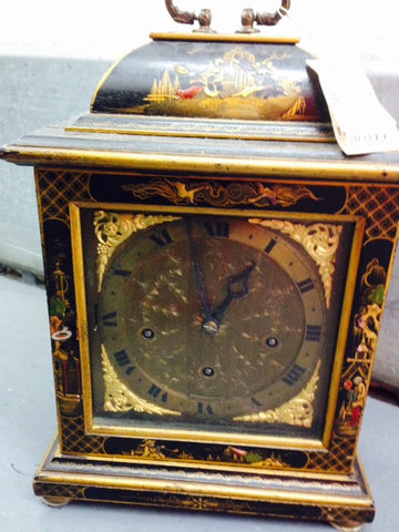 English Black and Gilt Japanned Carriage Clock, retailed by B. Altman & Co., first half 20th century