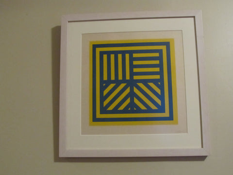 Sol LeWitt (American, 1928-2007), Bands in Four Directions (Blue/Yellow), 1999, woodcut, signed and numbered 5/25
