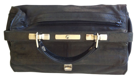 Seeger Black Calfskin Gladstone Style Cosmetic Bag