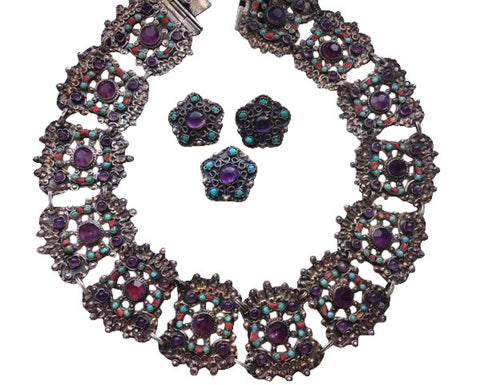 Mexican Silver, Amethyst and Turquoise Assembled Jewelry Set