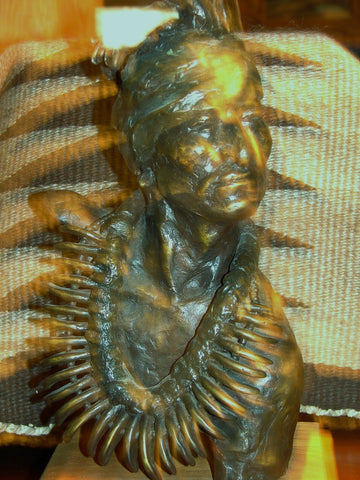Daro Flood (American, b. 1954), Native American Chief, patinated bronze sculpture, edition 2/30
