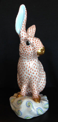 Herend Large Porcelain Fishnet Rabbit, Hungary, mold number #5334