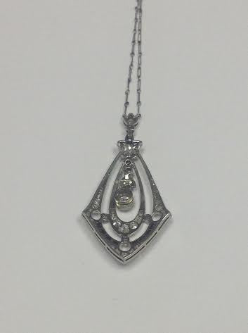Art Deco 14K White Gold, Diamond and Black Onyx Pendant, ca. 1925