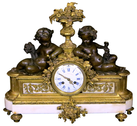 French Louis XVI Style Gilt Bronze and Marble Mantel Clock