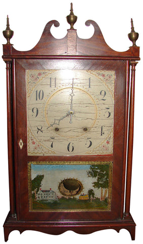 Mahogany 30-Hour, Wood Works, Pillar and Scroll Mantel Clock