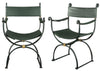 Pair of  Green-Painted Wrought Iron Armchairs
