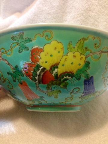 Chinese Turquoise Ground Famille Rose Enameled Bowl, early 20th century