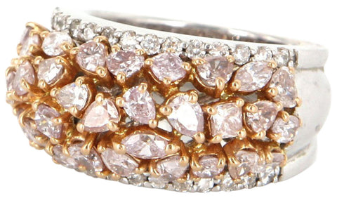18K White Gold and Natural Pink Diamond Domed Band