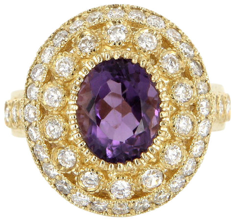14K Yellow Gold, Amethyst, and Diamond Cocktail Ring