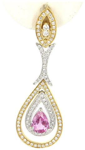 14K Yellow Gold, Diamond and Pink Sapphire Drop Earrings
