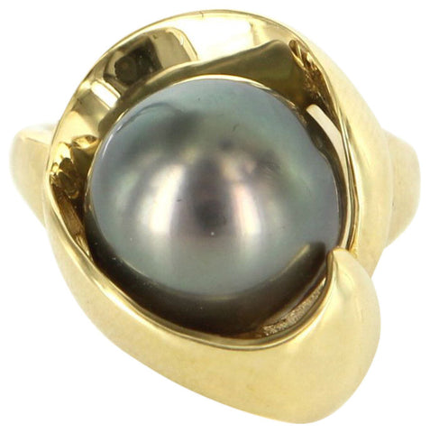 18K Yellow Gold and Tahitian Black Pearl Ring