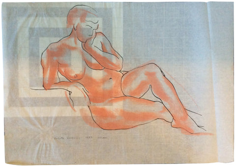 Valetta Swann (British/Mexico City, 1904-1973), Two Drawings of Female Nudes, mixed media on paper, signed and dated 1937