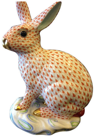 Large Herend Porcelain Fishnet Rabbit