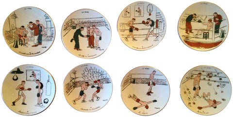 "Set of Eight French Faience ""La Boxe"" Plates"