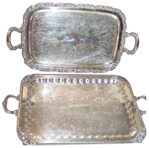 Two Silver Plated Oblong Two-Handled Trays