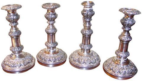Set of Four English Silver-Plated Telescoping Candlesticks