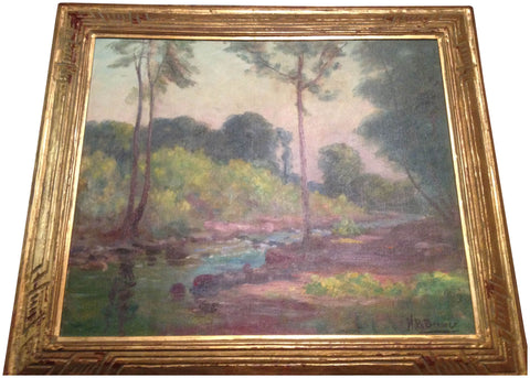 Nicholas Richard Brewer (American, 1857-1949), Landscape with Stream, oil on board, signed