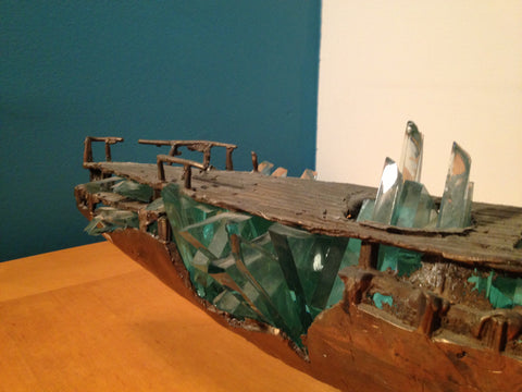 "Yorgos Kypris (Greek, b. 1954), ""Shipwreck"", patinated bronze and glass large sculpture, unsigned, 2000"