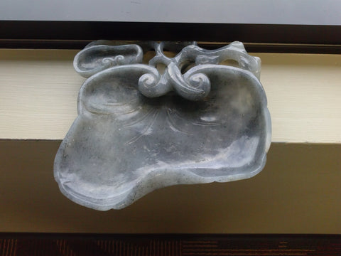 Chinese Mottled Green and Grey Nephrite Jade Water Dish, 20th century, in the style of the Qing Dynasty