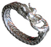 Men's American Silver Dragon Head Reticulated Bracelet