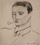 Milton Avery (American, 1885-1965), Man with Pipe (Lunn 14), portrait of Vincent Spagna, the artist, drypoint, 1938