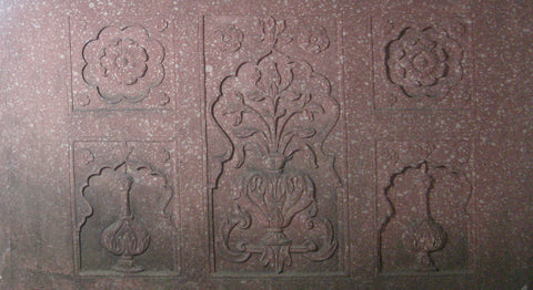 Mughal Style Carved Sandstone Architectural Panel