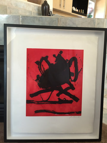 "Robert Motherwell (American, 1915-1991) ""Red Sea II"", 1979, etching and aquatint in colors, signed and numbered 67/100"