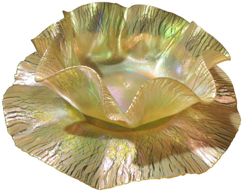 Tiffany Iridescent Favrile Glass Finger Bowl and Underplate